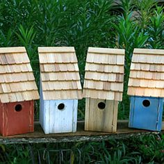 Bluebird Trundlehouse Bird House - $74.00  Round up a pleasing posse of America s favorite songbirds with this classic Bluebird Trundlehouse, it's beautifully simple in design and ruggedly built with front opening for easy cleaning. Truly American (they range only on the American continent), bluebirds suffered a decline in the last century after the introduction of European starlings and house sparrows, larger competitors that steal bluebird nest holes.