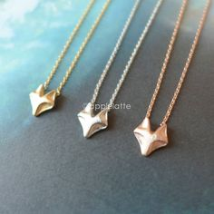 tiny fox necklace in gold, silver or rose gold, fox necklace, fox jewelry on Etsy, $11.80