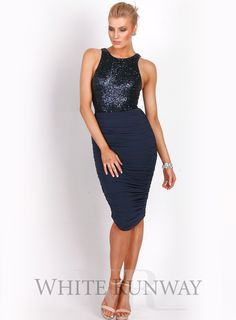 A stunning midi dress by Jadore. A high neckline dress featuring a fitted sequin bodice and stretch jersey skirt. Very flattering fit. Sequin Bridesmaid Dresses, Bridesmaid Dresses Online, Prom Dresses, Formal Dresses, Bridesmaids, Embellished Dress, Sequin Dress, Strapless Dress, High Neckline Dress