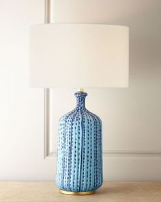 Culloden Pebbled Aquamarine Table Lamp By Aerin At Horchow