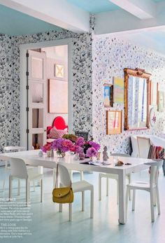 chassie post butterfly wallpaper dining room living etc