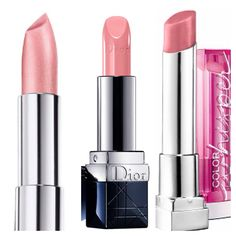 Dior rouge nude lipstick dupes.  Maybelline color whisper in lush for blush on right and maybelline pearly pink 720 on left