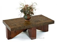 Rustic Chic Metal Coffee Table Available in Custom Sizes to Fit your Home by Woodland Creek Furniture.