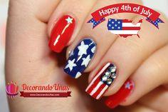 Uñas decoradas para el 4 de Julio – Video paso a paso | Decoración de Uñas - Manicura y Nail Art