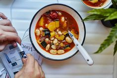 If you don't happen to have or particularly enjoy pastrami, bacon or pancetta would be a delicious substitute for this minestrone recipe. Check out [step-by- minestrone soup with acorn squash Best Soup Recipes, Bean Recipes, Chili Recipes, Dinner Recipes, Favorite Recipes, One Dish Dinners, One Pot Meals, Korma, Biryani