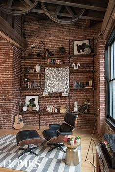 A young couple makes downtown their home in a contemporary industrial loft. Photography by Anne Matheis. A young couple makes downtown their home in a contemporary industrial loft. Photography by Anne Matheis. Industrial Interior Design, Industrial Living, Industrial Interiors, Home Interior Design, Industrial Loft Apartment, Industrial Style, Industrial Windows, Industrial Chair, Industrial Office