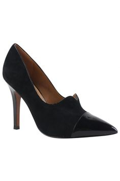 "The NARIAH - BLACK/ BLACK from Remac is a suede and leather ""shootie"" with a 3.75"" heel.  This pair will work perfectly for day or night. _______________________ https://www.zindigo.com/sharer.php/0/0/3729/14600"