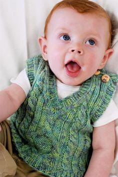 Pembroke cabled vest for baby & kids, By Kirsten Kapur, free knitting pattern