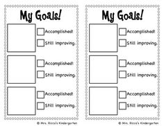 This checklist makes setting and tracking goals simple for kids! Give each student a goal sheet weekly or monthly. Have students choose 3 goals from the picture sheet, then cut and paste their goals onto their goal sheet. At the end of the week or month have students check off whether they accomplished the goal or still need to work on it. Then they will choose new goals for the next month. You could have students tape their goal sheet to their desk or keep it in a folder.