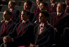 "Fox > GLEE > Season Six GLEE: Blaine (Darren Criss, R) and his team watch the New Directions perform in the ""The Hurt Locker, Part Two"" episode of GLEE airing Friday, Jan. 30 (9:00-10:00 PM ET/PT) on FOX. ©2014 Fox"