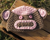 SALE - Crochet Brown and Pink Monkey Hat - Baby Girl  (3-6 Months) - SALE (30% OFF Original Price)
