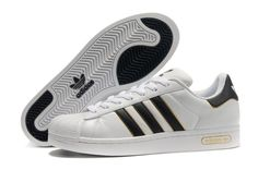 Adidas Superstar Shoes White Black Gold