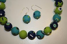 Kudin mukana: Polymeerimassa: green and turqoise, whimsical beads