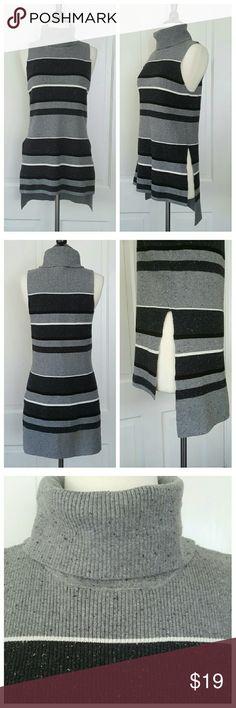 Lou & Grey Sleeveless Striped Turtleneck Sweater Lou & Grey sleeveless turtleneck sweater. Hi low with slit on sides. Gray, black, and white stripes. Lou & Grey Sweaters