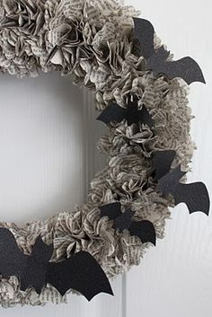 Halloween wreath, bats, book pages