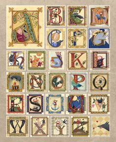 giclee copy available Double Door Gallery 4004 Horseshoe Valley Road West Anten Mills, Ontario, Canada Alphabet Poster, Alphabet Art, Letter Art, Welsh Alphabet, Craft Letters, Caligraphy Alphabet, Hand Lettering Alphabet, Calligraphy Letters, Illuminated Letters