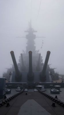 US Navy 'South Dakota' class WWII Battleship USS Alabama appears out of the gloom of a thick fog Naval History, Military History, Cruisers, Uss Alabama, Us Battleships, Capital Ship, Us Navy Ships, United States Navy, Military Weapons