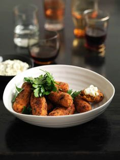 Carrot and apricot croquettes with garlic and lemon ricotta