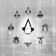 Assassin's Creed Logos >>> what if I got some of those tattooed up my arm with my other one? Assassins Creed Tattoo, Tatouage Assassins Creed, Assassins Creed Game, Asesins Creed, All Assassin's Creed, Simbols Tattoo, Halo Tattoo, Videogames, Connor Kenway