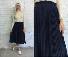 80s navy blue pleated midi skirt / 1980s shiny blue knife pleat a-line skirt / paper bag waist skirt by dustyrosevintage on Etsy