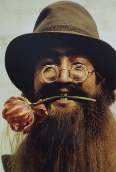 John Lennon in Disguise, Flower in Teeth, on the Set of Help!, 1965