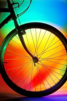"""""""Bike Silhouette"""" by photogarry, 2012 , Rainbow Colors, Vibrant Colors, Rainbow Art, Bike Silhouette, Cycling Art, Bike Art, Happy Colors, True Colors, Color Of Life"""
