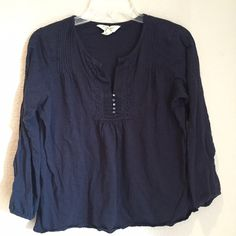 ‼️Closet Clearance‼️15% off bundles of 2 or more Ralph Lauren peasant style BOHO top. Navy blue. Adorable top. GUC Ralph Lauren Tops Tees - Long Sleeve