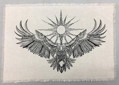 Linen altar cloth Eagle Spirit Crystal Grid Cloth manifestation intention tarot altar by on Etsy Tattoo Sketches, Tattoo Drawings, Body Art Tattoos, Sleeve Tattoos, Eagle Chest Tattoo, Eagle Tattoos, Eagle Back Tattoo, Full Chest Tattoos, Wolf Tattoos