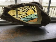 Driftwood stained glass sunset by CatchintheSun on Etsy