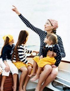 Navy Stripes + Polka Dots + Pop of yellow = Good Photo Shoot Combo!