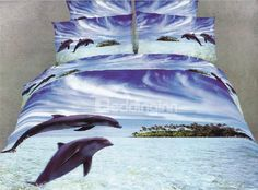 New Arrival High Quality 100% Cotton 3D Oil Painting Dolphine 4 Piece Bedding Sets/Duvet Cover Sets