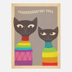 Mod Cats Print, $29, now featured on Fab.