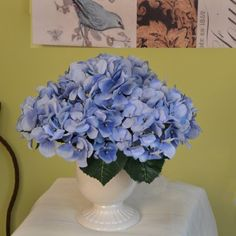 Lush Blue Hydrangea Bouquet AR287. Breathe life into your home with a fabulous bouquet, your guests will be simply delighted. For a soft and natural look, display this beautiful vase of realistic looking blue hydrangeas just about anywhere in your home.  You are going to love this color blue, it is so natural looking and lively. Aa perfect size for an end table, bookshelf, bathroom sink or nightstand. #homedecor #silkflowers