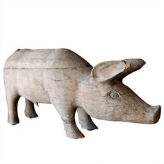 1930's American Folk Art Wood Pig  USA  1930'S  HAND CARVED, PRIMITIVE 1930'S AMERICAN FOLK ART WHITE OAK PIG.  Price  $2,200