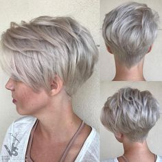 Silver Layered Pixie With Nape Undercut