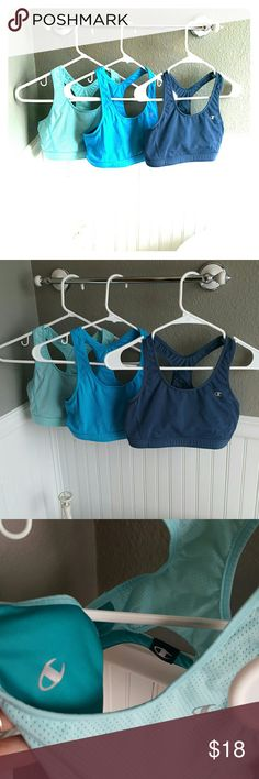 GREAT Condition Champion Sports Bras Bundle! Selling a GREAT Condition Champion Sports Bras Bundle! These are size small, tags have been removed because these are reversible Bras! Very comfortable, great colors! Champion Intimates & Sleepwear Bras
