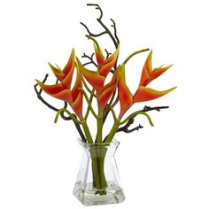 Nearly Natural Heliconia Floral Arrangements in Decorative Vase