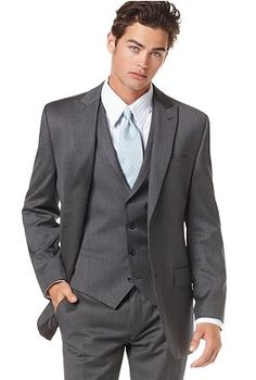 Love this suit for D...with a white shirt and a lilac tie instead. Maybe keep all the groomsmen in the same darker gray color but use a silver ties for them? The girls silver is lighter so they would pop with the guys darker colors