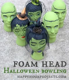 I love this!!! Halloween Kids Game: Foam Head Frankenstein Bowling at www.happyhourprojects.com #MakeItFunCrafts