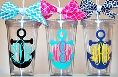 Monogrammed Anchor Tumblers - Add Hebrews to the other side and these are perfect! Monogram Cups, Monogram Decal, Monogram Design, Monogram Tumblers, Cheer Gifts, Fun Gifts, Acrylic Tumblers, Vinyl Projects, Silhouette Projects