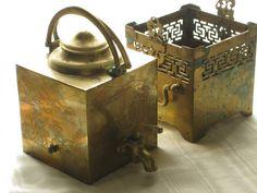 Antique Chinese Brass Samovar Teapot 19th Century Asian Decor Decorative Pierced Double Bail Handle Aged Verdi Gris Patina Mountain Etchings