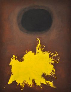 """""""Spray"""" (1959). by Adolph Gottlieb demonstrates the element of design of point.  Gottlieb plays on a psychological tool many artists use: gestalt, or the compulsion to connect parts. In this image, the mind supplies a link between the yellow splotch on the bottom and the black hole on the top through continuity (the tendency to """"connect the dots"""" and accept separate parts or points as part of a contour or form), proximity  and alignment (the tendency to align points into a contour or line)."""