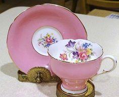 Paragon Tea Cup & Saucer * Pink * Floral bouquet Corset shape