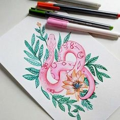 A Monday snake! I'm really loving pink lately and my new gouache is just fantastic. Snake Painting, Snake Drawing, Snake Art, Pink Painting, Painting Flowers, Snake Sketch, Artist Painting, Watercolor Paintings Tumblr, Art Sketches