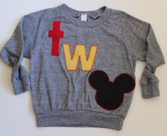 Disney Themed Mickey Second (2nd/Two) Birthday Gray Long Sleeve T-Shirt: Girl or Boy size 2T by LieschenLu