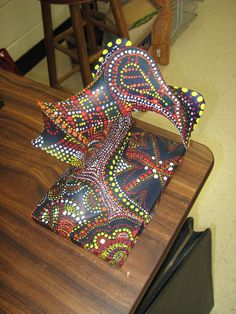 aboriginal themed stocking sculpture from the Sharpie Woman blog- I've done this project before with students- it's fun! Good to have a theme, though.