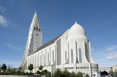 Hallgrimskirkja (Reykjavik, Iceland) Named after religious poet Hallgrimur Petursson, this Lutheran church is over 200 feet tall. Its construction started in 1945 and itook more than 40 years to complete. With a sitting capacity of 1200, it is the largest church in Iceland.