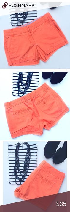 """1 DAY SALE! J. CREW 3"""" Broken-In Chino Short New without tags 3"""" Broken-In Chino Shorts in bright orange. Very popular style featuring The a cool """"broken/in, washed out look. Cotton; 3"""" inseam; sits just above hips; zip fly; front slant pockets; back welt pockets; machine wash; new condition. J. Crew Shorts"""