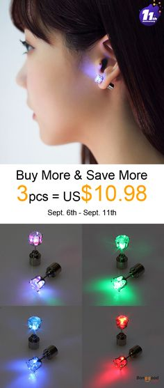 US$4.29 + Free shipping. Color: Blue, Red, Green, White, Purple, Rainbow, Yellow, Pink. Flashing Flower Led Earrings Ear Stud Perfect for Party Christmas Accessories.