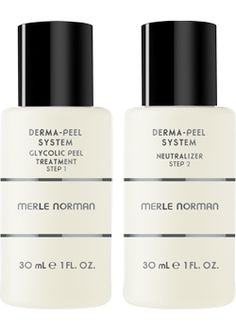 Merle Norman Derma-Peel System  Take your skin back to a healthier-looking place in time with this at-home alternative to a professional glycolic peel. The easy, two-step process gently removes dull, damaged skin cells to unveil a clearer, brighter complexion. Step 1 (10% Glycolic Acid) dissolves the bonds that hold dead skin cells on skin's surface and lifts them away. Step 2 (Neutralizer) conditions and soothes while halting the glycolic action. After a single use, it significantly